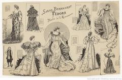 Théâtre de la Renaissance - Français:   Costumes de Sarah Bernhardt pour Fédora, drame de Victorien Sardou, Théâtre de la Renaissance, 3 avril 1894, gravure de Marie de Solar