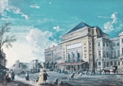 Théâtre de la Porte-Saint-Martin - English: The first Théâtre de la Porte Saint-Martin (built 1783) on the Boulevard Saint-Martin in Paris. The building was destroyed by fire in 1871 and replaced with a new theatre in 1873. This watercolor is by Jean-Baptiste Lallemand, from 1790. On the left of the theater one can see the Porte Saint-Martin, and a bit further on the Porte Saint-Denis.