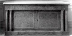 Mobilier National - Français:   Console fournie par Maigret, bois de frêne et marbre blanc, Mobilier National.