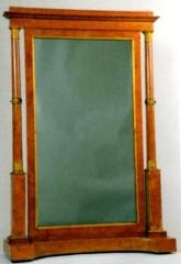 Mobilier National - Français:   Ecran à glace, bois de frêne, bronze doré, miroir, Mobilier National.