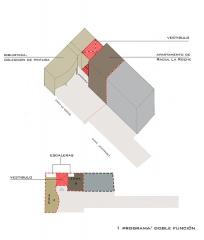 Villa La Roche, actuellement Fondation Le Corbusier - English: Planta esquemática separando las 2 casa ,1 programa   doble función
