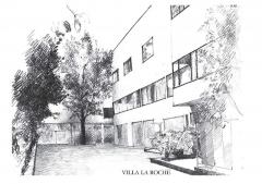 Villa La Roche, actuellement Fondation Le Corbusier - English: Drawing made by VLAD N., former architecture student, of the entrance of the villa La Roche. PARIS