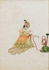 Musée Guimet -   Femme lisant une lettre Ecole moghole Seconde moitié du XVIIIè siècle  Gouache et or sur papier