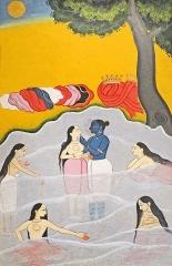 Musée Guimet -  Le Jala-vihara, ou les jeux aquatiques de Krishna et des gopî Ecole Pahari, Chambâ vers 1670 Gouache et or sur papier Musée national des arts asiatiques - Guimet (collection Inde) www.guimet.fr/fr/collections/inde                                Article de Wikipedia sur les Gopî fr.wikipedia.org/wiki/Gopi Autre représentation de Krishna et les Gopî (photo dalbera)  www.flickr.com/photos/dalbera/5874033849/in/set-721576269...