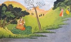 Musée Guimet - Page d'un manuscrit du Gîta Govinda de Jayadeva Râdhâ se pare dans l'attente de Krishna Ecole Pahari, Guler ou Kangrâ                                vers 1775-1780 Gouache et or sur papier Collection du musée national des arts asiatiques - Guimet (MNAAG) Musée national des arts asiatiques - Guimet (collection Inde) www.guimet.fr/fr/collections/inde       Pour information: L'art de Kāṅgrā (Himachal Pradesh, état au nord de l'Inde) s'est développé dans le dernier quart du XVIIIe siècle sous le règne de Rāja Sansar Chand, (1775-1823), un dévot de Kṛiṣhṇa. Le thème de bouderie et de réconciliation de Rādhā et de Kṛiṣhṇa fut fréquemment exploité, comme le pouvoir de séduction de Krishna auprès des gardiennes de vaches: les gopis avec lesquelles, le dieu avait été élevé. Les peintures de cette école mettent en scène leurs relations dans des paysages dont les éléments (arbres, fleurs, rivière, ciel,..) et leurs couleurs symbolisent les passions humaines. Cette tradition picturale s'est construite sous l'influence d'artistes de l'école rajpoute et de peintres moghols. Les miniatures de style pahari