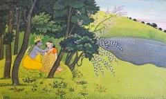 Musée Guimet -  Page d'un manuscrit du Gîta Govinda de Jayadeva Les jeux amoureux de Krishna et de Râdhâ. Ecole Pahari, Guler ou Kangrâ                                vers 1775-1780 Gouache et or sur papier Collection du musée national des arts asiatiques - Guimet (MNAAG) Musée national des arts asiatiques - Guimet (collection Inde) www.guimet.fr/fr/collections/inde      Pour information:  L'art de Kāṅgrā (Himachal Pradesh, état au nord de l'Inde) s'est développé dans le dernier quart du XVIIIe siècle sous le règne de Rāja Sansar Chand, (1775-1823), un dévot de Kṛiṣhṇa.  Le thème de bouderie et de réconciliation de Rādhā et de Kṛiṣhṇa fut fréquemment exploité, comme le pouvoir de séduction de Krishna auprès des gardiennes de vaches: les gopis avec lesquelles, le dieu avait été élevé. Les peintures de cette école mettent en scène leurs relations dans des paysages dont les éléments (arbres, fleurs, rivière, ciel,..) et leurs couleurs symbolisent les passions humaines. Cette tradition picturale s'est construite sous l'influence d'artistes de l'école rajpoute et de peintres moghols. Les miniatures de style pahari