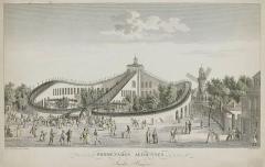 Pavillon de Balzac, actuellement musée -  Promenades Aeriennes, Jardin Baujon (roller coaster at the Folie Beaujon) Paris, c. 1820. Etching, 25 x 45 cm