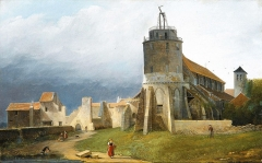 Eglise Saint-Pierre-de-Montmartre - English: The church of Saint-Pierre de Montmartre and the ruins of the abbey in 1820