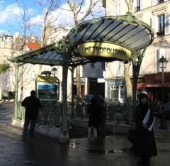Métropolitain, station Abbesses -  Entrance to the en:Abbesses (Paris Metro) metro station on Paris Metro. Designed by Hector Guimard (1867-1942).