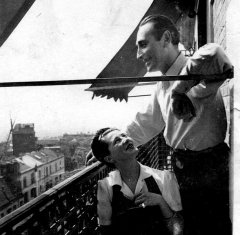 Moulin de la Galette - English:   Overlooking the Moulin de la Galette in Montmartre. Paris 1946.
