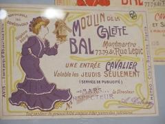 Moulin de la Galette - English:   Entrance ticket to the moulin de la Galette, Paris.