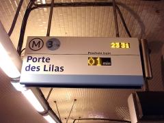Métropolitain, station Gambetta - Français:   Panneau SIEL à la station Gambetta de la ligne 3 bis du métro de Paris, France.