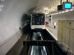 Métropolitain, station Gambetta - Français:   La station Gambetta de la ligne 3 bis du métro de Paris, France.