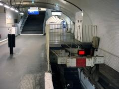Métropolitain, station Gambetta - Français:   Butoir à la station Gambetta de la ligne 3 bis du métro de Paris, France.