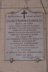 Eglise Saint-Martin - Deutsch: Katholische Kirche Saint-Martin in Égreville im Département Seine-et-Marne (Region Île-de-France/Frankreich), Gedenktafel