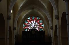 Eglise Notre-Dame - Deutsch: Katholische Pfarrkirche Notre-Dame in Melun im Département Seine-et-Marne in der Region Île-de-France (Frankreich), Bleiglasfenster, Rosette an der Westfassade, Orgel
