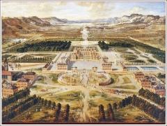 Bâtiments de la machine de Marly (également sur commune de Louveciennes) - English: Marly Machine. The Palace of Versailles by 1668, painted by Patel.