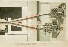Bâtiments de la machine de Marly (également sur commune de Louveciennes) - English: Marly Machines. Drawing of the temporary hydraulic machine.
