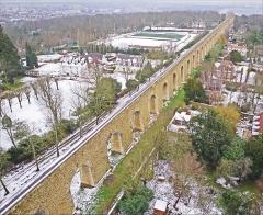 Bâtiments de la machine de Marly (également sur commune de Louveciennes) - English: Marly Machines. Aqueduct bridge of Louveciennes.