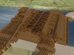 Bâtiments de la machine de Marly (également sur commune de Louveciennes) - English: Machine de Marly computer model wheel and pump platform