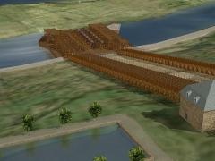 Bâtiments de la machine de Marly (également sur commune de Louveciennes) - English: Machine de Marly computer model mi-cote reservoir, chevalets