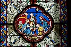 Eglise Saint-Martin - Deutsch: Katholische Pfarrkirche Saint-Martin in Jouy-en-Josas im Département Yvelines in der Region Île-de-France (Frankreich), Bleiglasfenster von Paul Nicod (1858), Szenen aus dem Leben Marias: Anbetung durch die Hirten