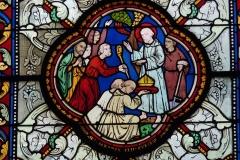 Eglise Saint-Martin - Deutsch: Katholische Pfarrkirche Saint-Martin in Jouy-en-Josas im Département Yvelines in der Region Île-de-France (Frankreich), Bleiglasfenster von Paul Nicod (1858), Szenen aus der Legende des hl. Martin: Martin wird zum Bischof gewählt