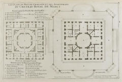 Domaine national de Marly -  Floor plan of the Château de Marly c.1715; categories of the people named on the map are linked to the file (see below)