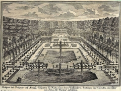 Domaine national de Marly -  Marly-le-Roy. Aus: Erlustierende Augenweide in Vorstellung herrlicher Garten und Lustgebäude. Kupferstichwerk; Augsburg, Wolff, um 1717.