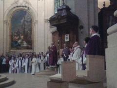 Cathédrale Saint-Louis - Français:   Messe d\'action de grâce Mgr Leborgne, Mgr Eric Aumonier dans sa cathèdre