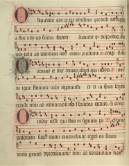Propriété des Meissonnier - English: Verso of folio 30 from The Poissy Antiphonal, a certified  Dominican antiphonal of 428 folios from Poissy, written 1335-1345, with a complete annual cycle of chants for the Divine Office (Temporal, Sanctoral  and Commons) and a hymnal.