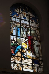 Eglise Saint-Médard - Deutsch: Bleiglasfenster in der katholischen Pfarrkirche Saint-Médard in Brunoy im Département Essonne (Île-de-France/Frankreich), zwischen 1885 und 1896 von Émile Hirsch ausgeführt; Darstellung: Heiliger Medardus