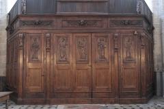Eglise Notre-Dame - Deutsch:   Katholische Pfarrkirche Notre-Dame-de-l\'Assomption in La Ferté-Alais im Département Essonne (Île-de-France/Frankreich), Innentür mit den Reliefs der zwölf Apostel, aus dem 16. Jahrhundert