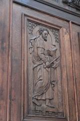 Eglise Notre-Dame - Deutsch:   Katholische Pfarrkirche Notre-Dame-de-l\'Assomption in La Ferté-Alais im Département Essonne (Île-de-France/Frankreich), Innentür mit den Reliefs der zwölf Apostel, aus dem 16. Jahrhundert, Darstellung: Apostel (Ausschnitt)