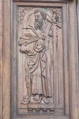 Eglise Notre-Dame - Deutsch:   Katholische Pfarrkirche Notre-Dame de l'Assomption in La Ferté-Alais im Département Essonne (Île-de-France/Frankreich), Innentür mit den Reliefs Jesu und der zwölf Apostel, aus dem 16. Jahrhundert, Darstellung: Apostel Paulus