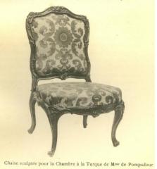 Domaine de Bellevue : ancien château - Français:   Chaise sculptée qui proviendrait de la chambre de Mme de Pompadour.