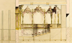 Domaine de Bellevue : ancien château - Français:   Coupe du théâtre de Bellevue, vers 1752. (identifié de manière inédite par Franck Devedjian, Versalia 2016.)