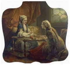 Domaine de Bellevue : ancien château - Français:   Deux sultanes faisant de la broderie, Carle Van Loo. Musée de l\'Ermitage. Placé dans la chambre de Mme de Pompadour en 1750.