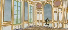 Domaine de Bellevue : ancien château - Français:   Restitution du deuxième salon, vers 1770. Vue du côté des fenêtres.