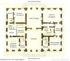 Domaine de Bellevue : ancien château - Français:   Distribution du rez-de-chaussée de Bellevue vers 1760.