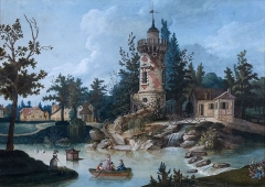 Domaine de Bellevue : ancien château - Français:   La tour Marlborough, hameau du château de Bellevue