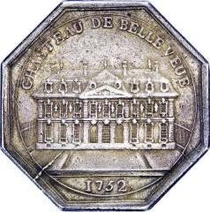 Domaine de Bellevue : ancien château - Français:   Jeton représentant le château de Bellevue, 1752.