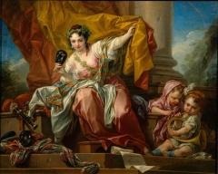 Domaine de Bellevue : ancien château - Français:   La Comédie, par Carle Van Loo, peint pour le cabinet de Compagnie de Mme de Pompadour à Bellevue, 1750-52.