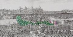 Maison d'Armande Béjart - Français:   Emplacement des deux tours du musée. Estampe d\'Israël Silvestre, vers 1685.