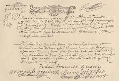 Maison d'Armande Béjart - Français:   Quittance avec les signatures d\'Armande Béjart et d\'Isaac-François Guérin, son second mari. 20 septembre 1691.