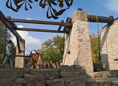 Treuil de carrière - English: Châtillon (Hauts-de-Seine, France) - The restored horse-drawn winch of the Auboin underground limestone quarry (19th-century), in demonstration during the European Heritage Days 2009.