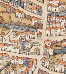 Eglise Saint-Médard - English:   Saint-Médard church on the plan of Truschet and Hoyau (1550).