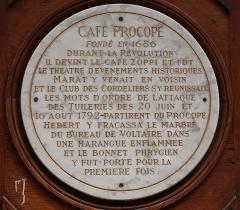 Café Le Procope - Français:   Plaque sur la façade du café Procope, 13 rue de l\'Ancienne-Comédie (Paris, 6e).