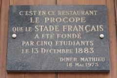 Café Le Procope - Français:   Plaque sur la façade du café Procope en hommage à la création du Stade français, 13 rue de l\'Ancienne-Comédie (Paris, 6e).
