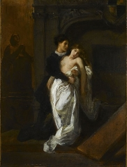 Immeuble et musée Delacroix - English: Romeo and Juliet at the Tomb of the Capulets by Eugène Delacroix, ca 1850, oil on mounting paper on canvas, 35.2 x 26.5 cm, Musée Delacroix, Paris